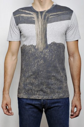 COTTON JERSEY T-SHIRT UPSET TREE Gray Medium Melange