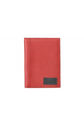 LEATHER PASSPORT BAG Red