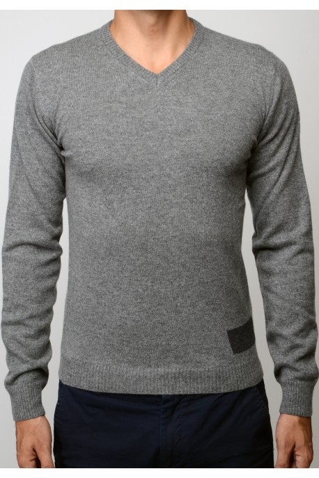 PURE CASHMERE V NECK SWEATER Gray Melange
