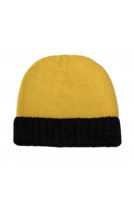 PURE CASHMERE TWO-COLOURED HAT Dark Yellow