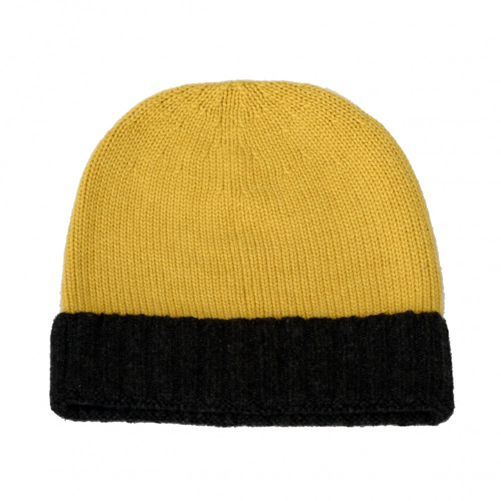PURE CASHMERE TWO-COLOURED HAT Dark Yellow. Loading zoom 004a77c6778