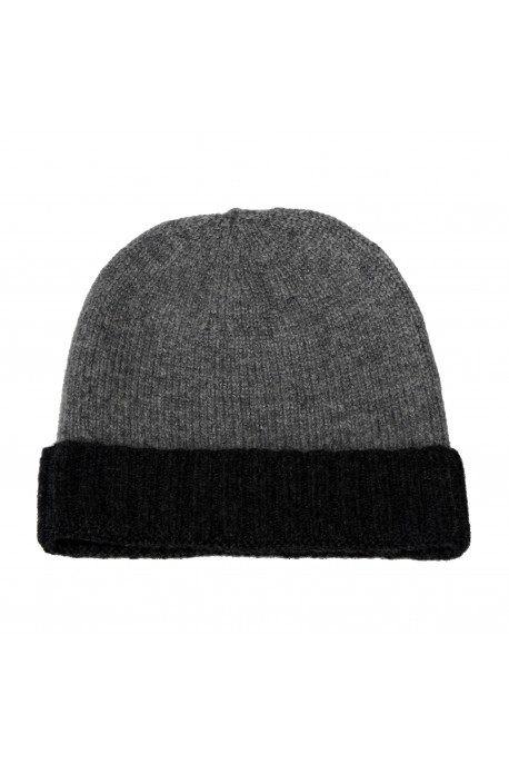 PURE CASHMERE TWO-COLOURED HAT Gray Medium Melange