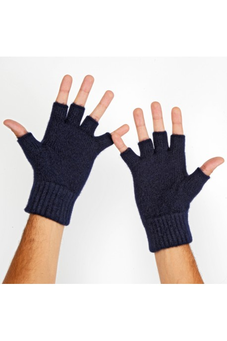 PURE CASHMERE GLOVES Blue Navy