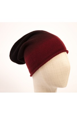 CAPPELLO IN PURO CASHMERE DEGRADE' BORDEAUX