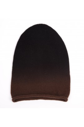 Cappello in puro cashmere degradè marrone