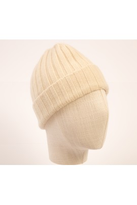 PURE CASHMERE WHITE CLOSE-FITTING BEANIE