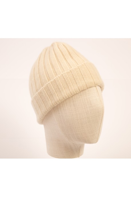 PURE CASHMERE CLOSE FITTING WHITE HAT