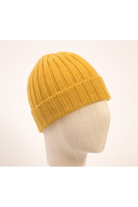 PURE CASHMERE YELLOW CLOSE-FITTING BEANIE