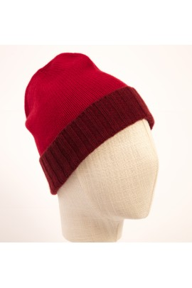 PURE CASHMERE TWO-COLOURED RED BEANY