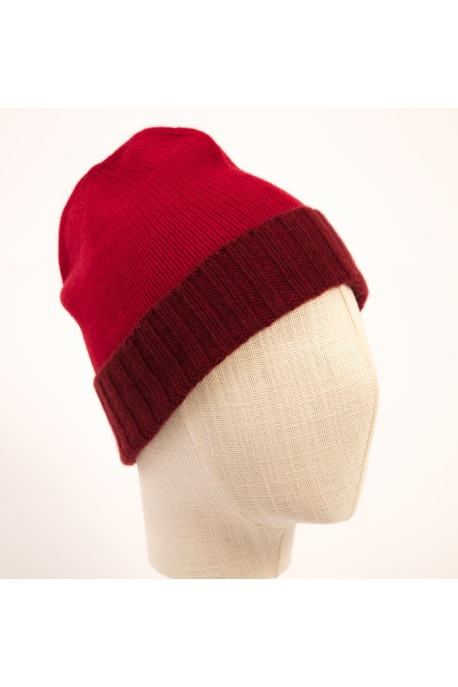 PURE CASHMERE TWO-COLOURED BEANY RED HAT