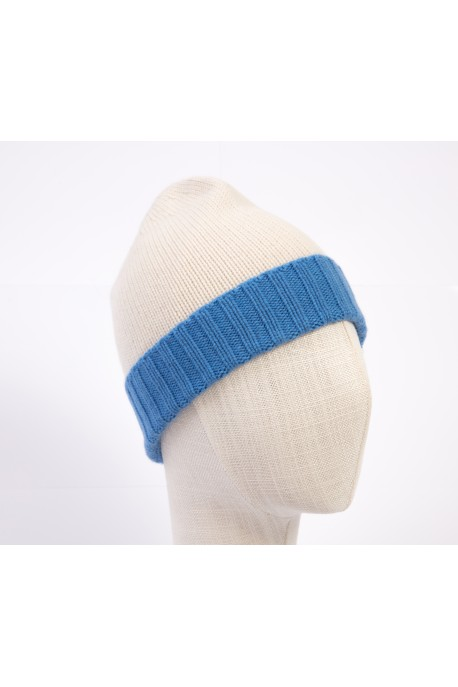 PURE CASHMERE TWO-COLOURED WHITE & LIGHT BLUE BEANY