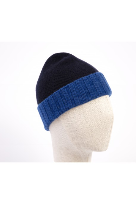PURE CASHMERE TWO-COLOURED BLUE BEANY