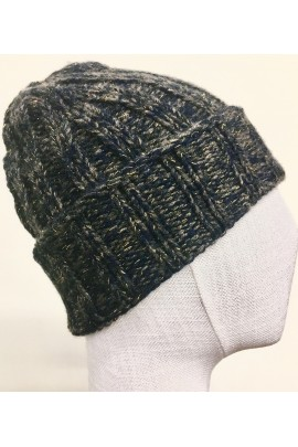 CASHMERE & WOOL BLU MELANGE CLOSE-FITTING BEANIE