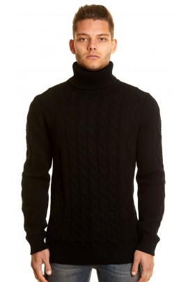 PURE CASHMERE BLACK TWIST TURTLENECK SWEATER
