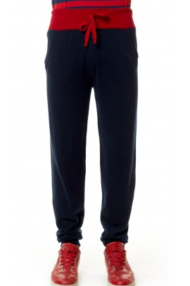 PURE CASHMERE SPORT PANTS Blue Navy
