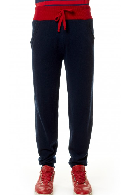 PANTALONE IN PURO CASHMERE BLUE NAVY
