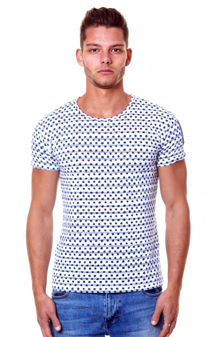 COTTON JERSEY DOTS&STRIPES T-SHIRT