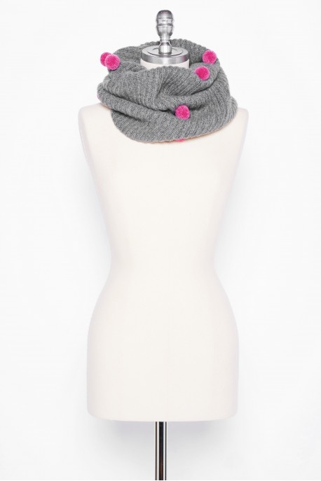 PURE CASHMERE NECK SCARF Gray Medium Melange