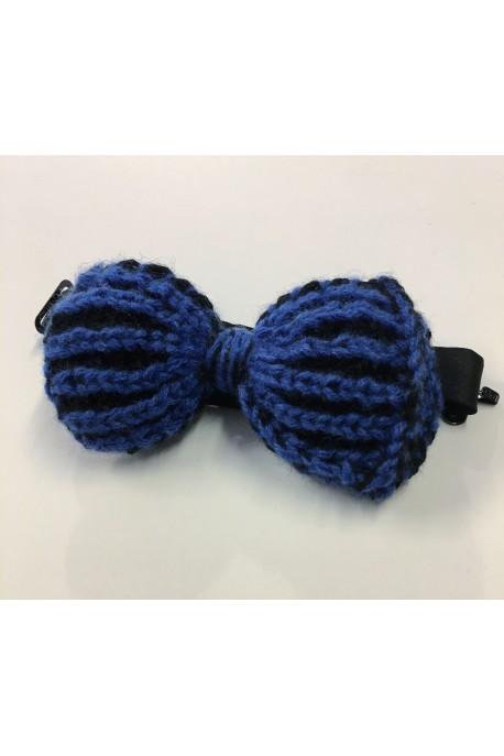 Farfallino in puro Cashmere blu e nero