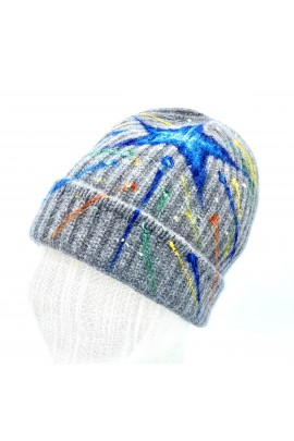 Pure Cashmere Beanie hand painted