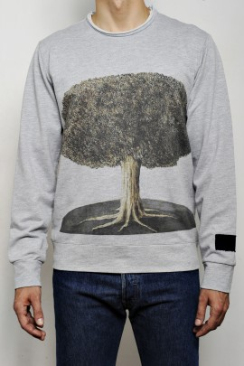 COTTON FLEECE BIG TREE PRINT