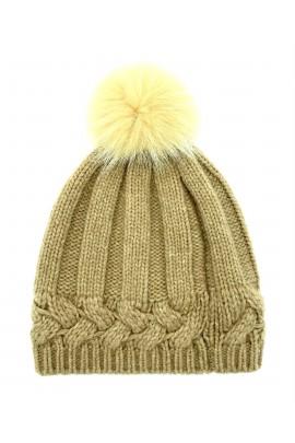 Cappello in Cachemire con pom pon in pelliccia di Volpe