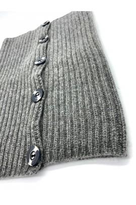 Scaldacollo in puro cashmere grigio melange
