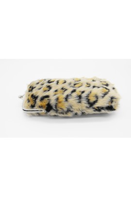 Leopard yellow faux fur eyeglasses holder