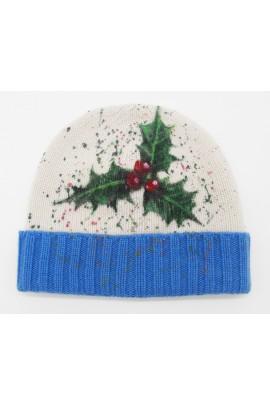 Cappello in puro cashmere stampa Natale